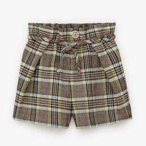 Zara Kids Plaid Paperbag Shorts NWT Size 11-12 yrs